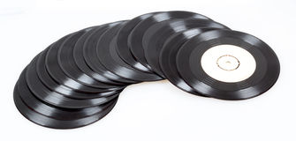Group of black vinyl records Royalty Free Stock Image