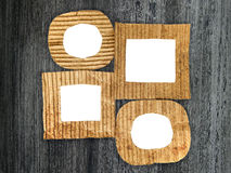 Group of blank cardboard frames. On grunge painted background Royalty Free Stock Images