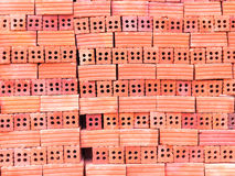 Group of blend red brick material for industry , soft focus Stock Photos