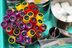 Group of Blood specimen tube for blood tests royalty free stock photos