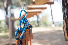 Group of blue carabiner safety guarantee Royalty Free Stock Photography