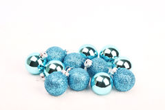 Group of blue christmas balls on white background Royalty Free Stock Photography