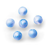Group of blue clouds covered planet liked balls. Royalty Free Stock Images