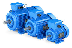 Group of blue electric industrial motors. Stock Photo