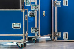 Group of blue flight cases Stock Image