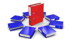 The group of blue folders office around the red fo Stock Images