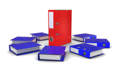 The group of blue folders office around the red fo Royalty Free Stock Photos