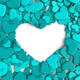 Group blue hearts on white background. Group hearts on white background. Valentine`s day background. 3d render illustration Royalty Free Stock Photography