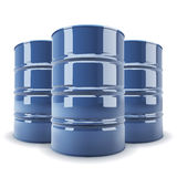 Group of 3 blue metal barrels Stock Photos