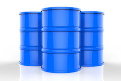 Group of blue oil barrels Royalty Free Stock Photo