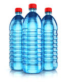 Group of blue plastic drink water bottles. 3D render illustration of the group of three blue plastic bottles with clear purified drink carbonated water isolated Royalty Free Stock Photos