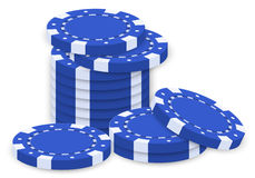 A group of blue poker chips Royalty Free Stock Photos