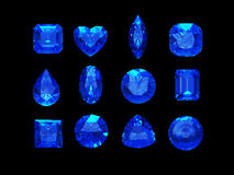 Group of  blue sapphire shape with clipping path Royalty Free Stock Images