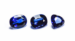 Group of the blue sapphires. On white background Stock Photography