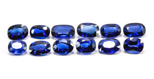 Group of the blue sapphires. On white background Stock Photos