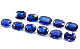 Group of the blue sapphires. On white background Royalty Free Stock Image