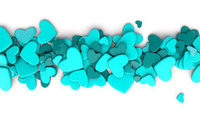 The group blue scattered hearts on a white background. Valentine`s day background. Valentine`s day background. 3d render illustration Royalty Free Stock Photo