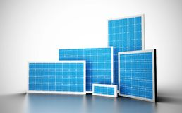 A group of blue solar cells stock illustration