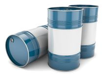 Group of blue steel barrels Royalty Free Stock Image