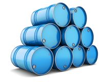Group of blue steel barrels Royalty Free Stock Photos