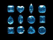 Group of blue topaz with clipping path. Group of blue topaz, clipping path included Stock Image