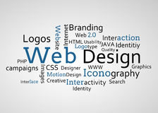 Group of blue web design terms vector illustration