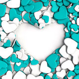 Group blue and white hearts on white background. Group hearts on white background. Valentine`s day background. 3d render illustration Stock Photos