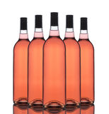 Group of Blush Wine Bottles Stock Photo