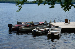 Fleet of small boats at dock Royalty Free Stock Image