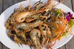 Group boiled shrimp Stock Photos