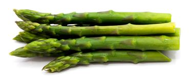 Asparagus. Group of boiled steam asparagus isolated on white backgroundn Stock Images