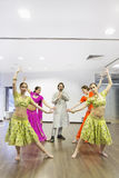 Group of bollywood dancers. Group of  bollywood dancers in dance studio Royalty Free Stock Image