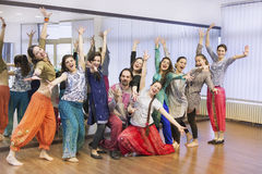 Group of bollywood dancers. Group of  bollywood dancers in dance studio Stock Images