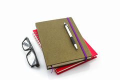 Group of book ,pen and glasses. Royalty Free Stock Photography