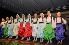 The group of Bosnian girls on stage Royalty Free Stock Image