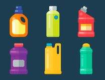 Bottles of household chemicals supplies cleaning housework plastic detergent liquid domestic fluid cleaner pack vector Royalty Free Stock Photography