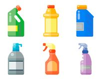 Bottles of household chemicals supplies cleaning housework plastic detergent liquid domestic fluid cleaner pack vector. Group of bottles of household chemicals Stock Photos