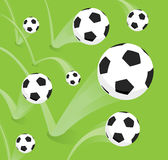 Group of bouncing soccer balls Stock Images
