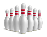 Group of bowling pins. Skittles with red stripes. Royalty Free Stock Images