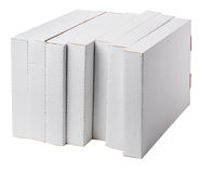 Group boxes lying on its side. Seven flat boxes on white background Royalty Free Stock Photography