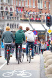 Group of boys on bicycles in Amsterdam Royalty Free Stock Photography