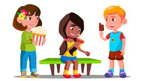 Group Of Boys And Girls Eating Together Vector. Isolated Illustration vector illustration