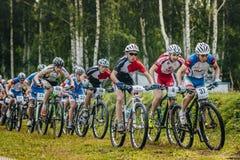 Group of boys mountain bike Royalty Free Stock Photos