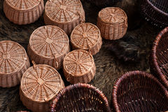 Group of braided baskets Royalty Free Stock Photography