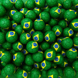 Group of Brazil football balls. 3D render background. Group of Brazil football balls Royalty Free Stock Photo