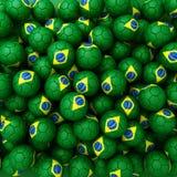 Group of Brazil football balls. 3D render background. Group of Brazil football balls vector illustration