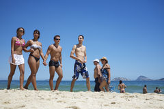 Group of Brazilian Friends Ipanema Beach Rio Stock Photo