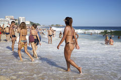 Group of Brazilian Friends Ipanema Beach Rio Stock Photography