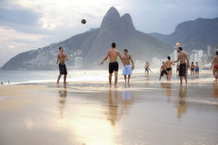Group of Brazilians Playing Altinho Futebol Beach Football Royalty Free Stock Photography