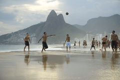 Group of Brazilians Playing Altinho Futebol Beach Football Royalty Free Stock Photo